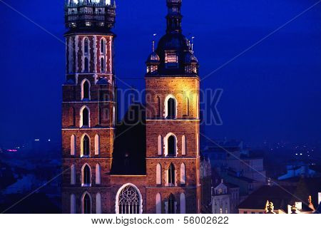 St. Mary's Church In Krakow At Night