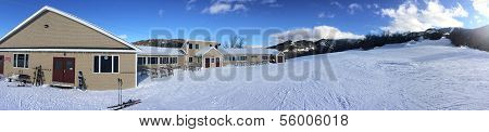 Panoramic view to lodge and ski slopes