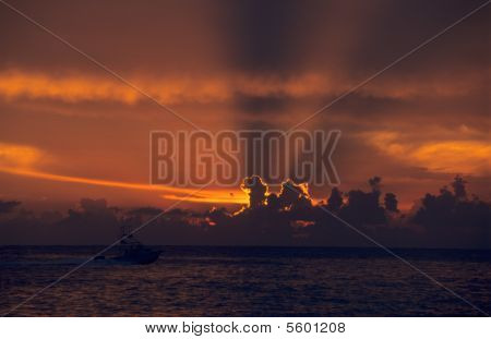 Sunset On Ocean At Bayahibe - Dominican Republic