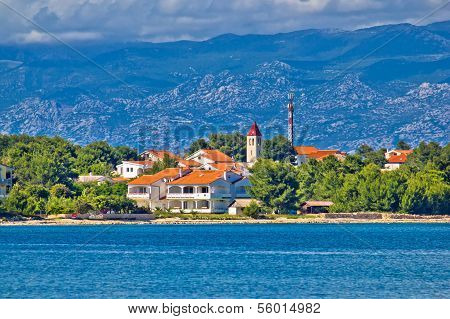 Island of Vir waterfront under Velebit mountain Croatia Dalmatia poster