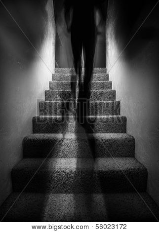 Shadow Figure Walking Up Stairs