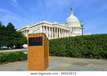 United States Capitol and spokesperson stand - Washington DC