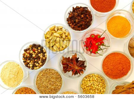 Various Ground And Whole Spice In Rows