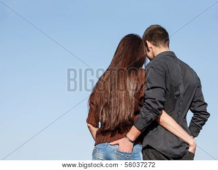 Young Couple Rear View