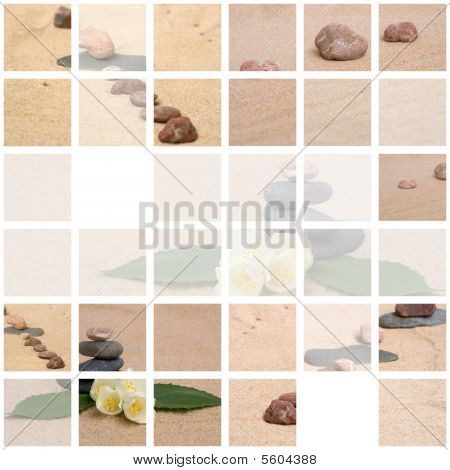 Collage of jasmine and stones on a sand