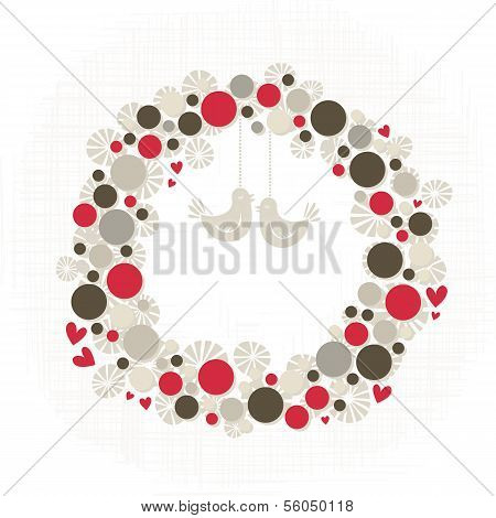 dots and flower shapes with little hearts and birds decoration wreath