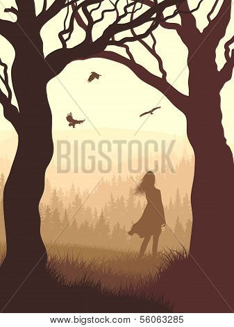 Vertical Illustration Within Forest With Silhouette Girl In The Morning.