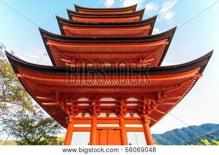Five-storied pagoda at Toyokuni Shrine in Miyajima Island poster
