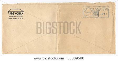 US - CIRCA 1949: Vintage envelope postmarked 4 Mar 1949, New York, New York, circa 1949