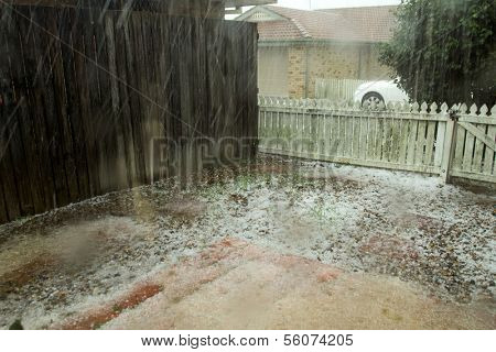 BRISBANE - NOVEMBER 18: Storms dump hail the size of golf-balls on November 18, 2013 in Brisbane, Queensland, Australia. Authorities say the damage bill will run into the millions of dollars.