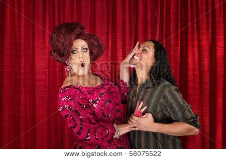 Cringing Transvestite And Kissing Man