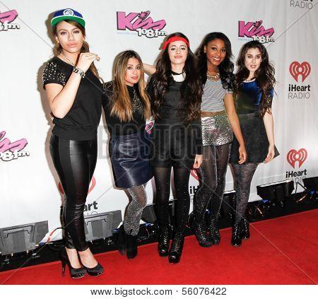 BOSTON-DEC 14: (L-R) Dinah Jane Hansen, Ally Brooke, Camila Cabello, Normani Kordei and Lauren Jauregui of Fifth Harmony attend KISS 108's Jingle Ball 2013 at TD Garden on December 14, 2013 in Boston.