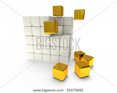 Cubes block. Assembling concept. Teamwork. Business. Last steps. On white background. 3D render icon. poster