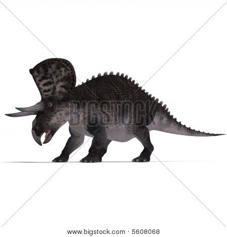 Dinosaur Zuniceratops. 3D render with clipping path and shadow over white poster