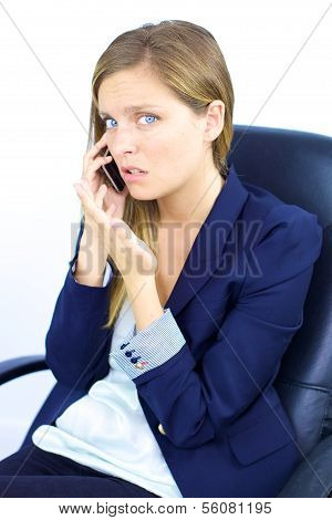 Woman Feeling Sad About Bad News On The Phone