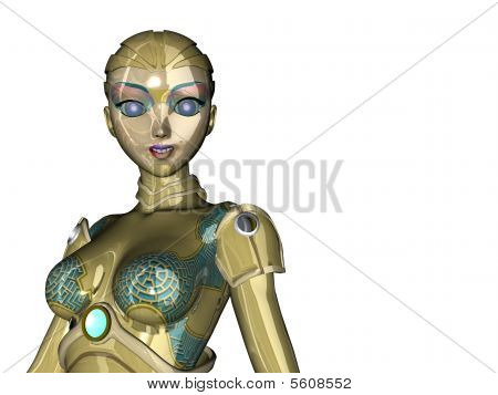 Close up illustration of female Robot on clean white backgorund poster