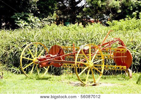 Restored Vintage Farm Implement Painted Yellow And Red