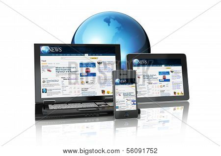 Multi platform Media Group of Electronic Devices tablet PC,laptop and business smart phone connected online on a white background poster