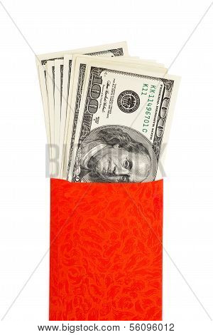 Us Currency In Red Pocket With Clipping Path