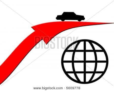 Car Driving Over Globe