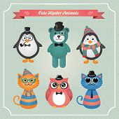 Cute fashion Hipster Animals & pets, set of vector icons, illustration poster