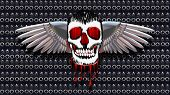 This is a Skull with chromed wings on leather illustration poster
