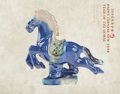 """Ceramic horse souvenir on old paper,Chinese calligraphy. word for """"horse"""", 2014 is year of the horse poster"""