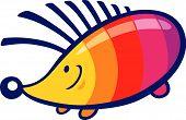 cartoon vector illustration of cute rainbow hedgehog poster