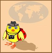 Cute chicken with a backpack and a camera in cartoon stile, vector illustration to the concept of tourism. Globe siluet in the background. poster
