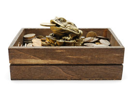 Netsuke Toad On Heap Of Coins