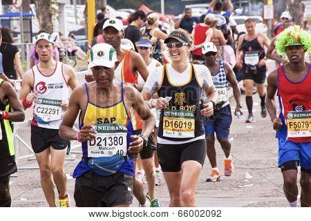 Happy Female Runner At Comrades Ultra Marathon