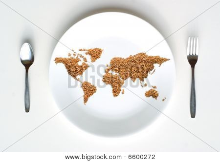 World Map of Grain on Plate