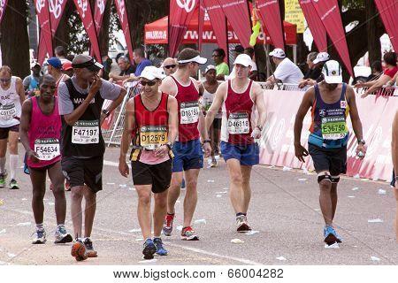 Runners Chatting And Joking During Comrades Marathon