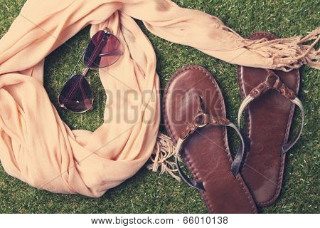 Summer Womens Fashion Accessories On Grass Background