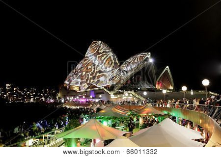 Sydney Opera House, Australia - May 28, 2014 - Reptile Snakeskin. Moving Projections Of Various Pict