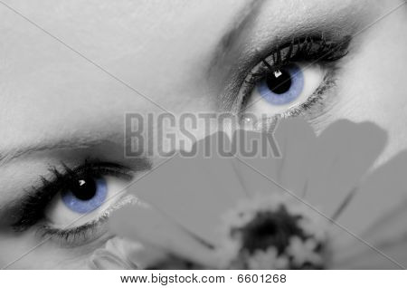 Woman With Beautiful Blue Eyes