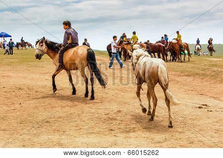 Boy Rides Bareback At Nadaam Horse Race