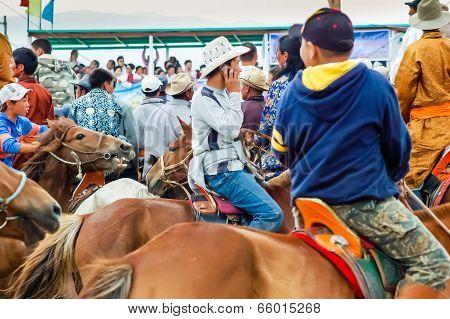Crowd Of Horseback Spectators At Nadaam Horse Race