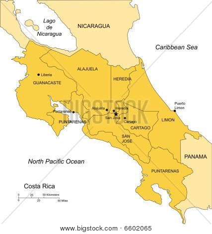 Costa Rica with Administrative Districts and Surrounding Countries