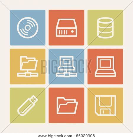 Drives and storage web icons, color square buttons