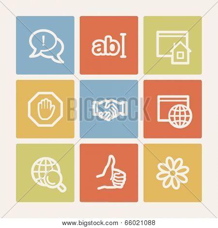 Internet web icon set 1, color square buttons