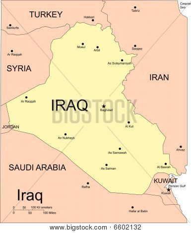 Iraq, Major Cities and Capita  and Surrounding Countries