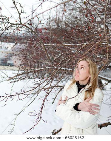 Winter. Frost. The frozen girl near a tree.