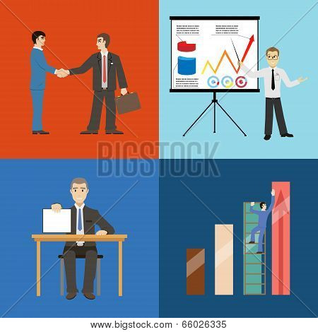 Business Partnership Agreement conclusion Statistics Growth Presentation Concept Set Retro Style Icons Set on Stylish Background Modern Flat Design Vector Illustration poster