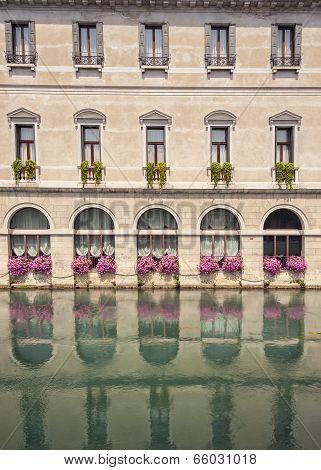 reflected building facade in Treviso