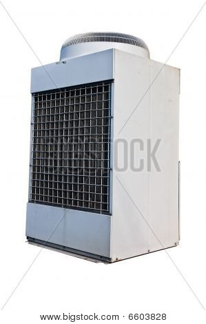 Industrial Modern Air Condition Unit Isolated On White.