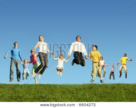 Many jumping families on the grass collage poster