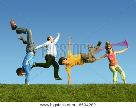 Many jumping people on the grass collage poster