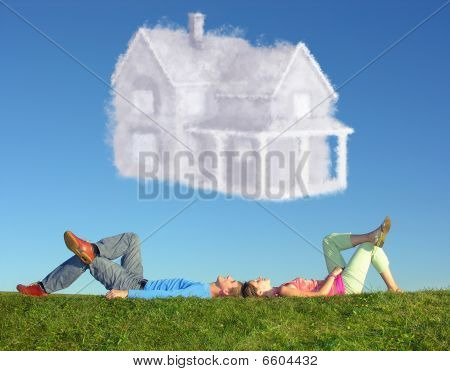 Lying Couple On Grass And Dream House Collage