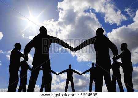 People Group Circle Silhouette On Sun Sky Collage